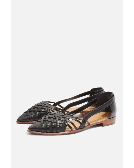 TOPSHOP - Black Woven Pointed Shoes - Lyst