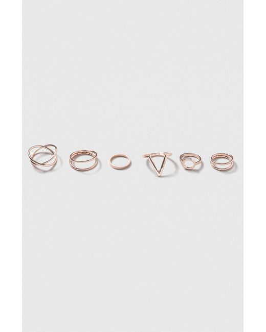 TOPSHOP - Metallic Shape And Twist Ring Pack - Lyst