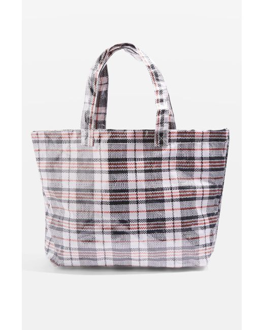 TOPSHOP | Black Marty Check Unlined Tote Bag | Lyst