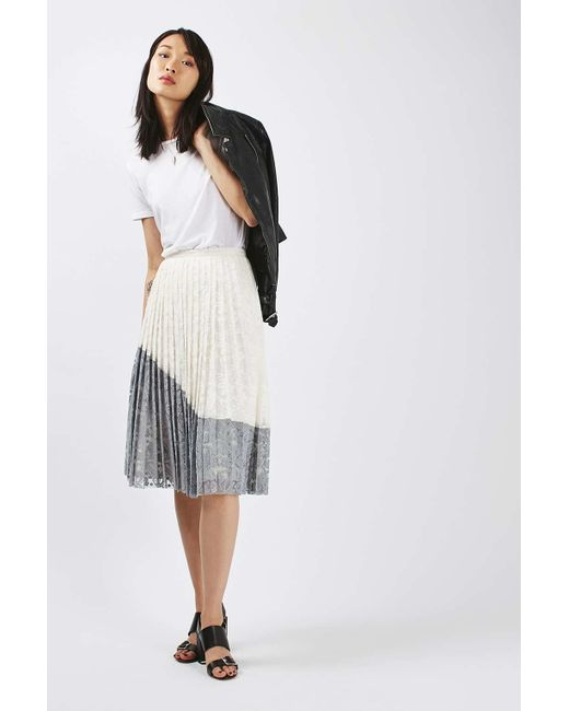 topshop lace pleated skirt in multicolour lyst
