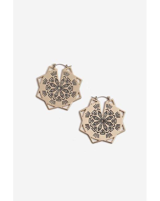 TOPSHOP - Metallic Engraved Star Hoop Earrings - Lyst
