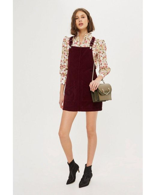 TOPSHOP - Multicolor Petite Cord Pocket Pinafore Dress - Lyst