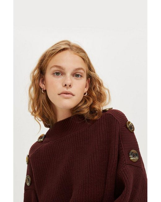 TOPSHOP - Multicolor Petite Button Slash Jumper - Lyst