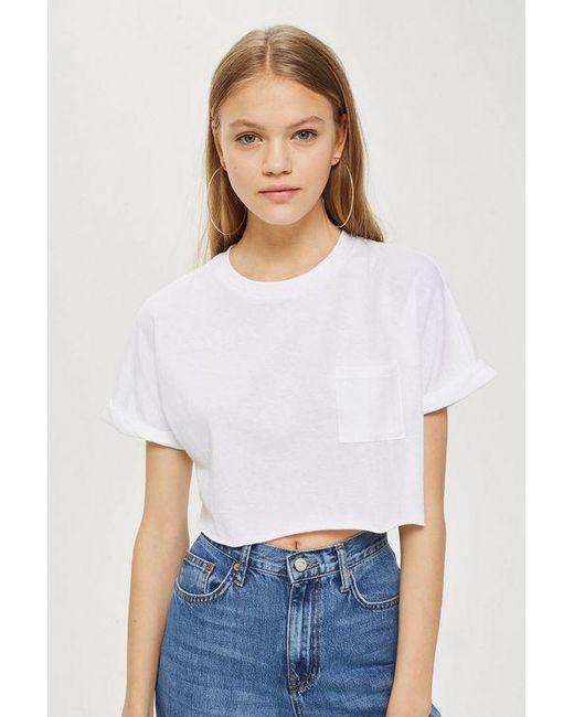 1a8575b03b5231 Topshop Tall Sewn Off Crop T-shirt in White - Save ...