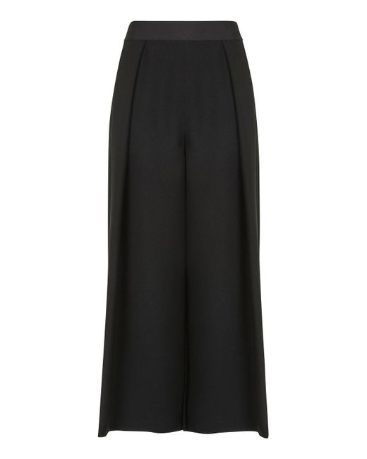TOPSHOP | Black Cropped Wide Leg Trousers | Lyst