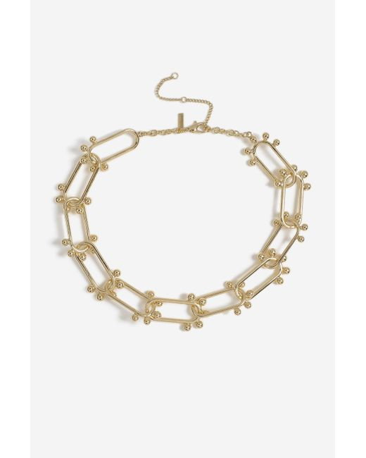 TOPSHOP - Metallic Oval Ball Link Necklace - Lyst