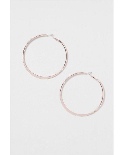 TOPSHOP - Metallic Flat Hoop Earrings - Lyst
