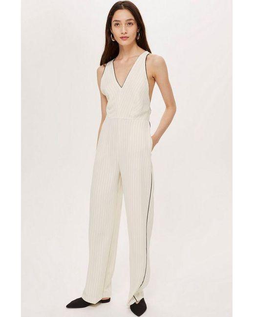 c071baf3429 TOPSHOP - White Tall Pinstripe Jumpsuit - Lyst ...