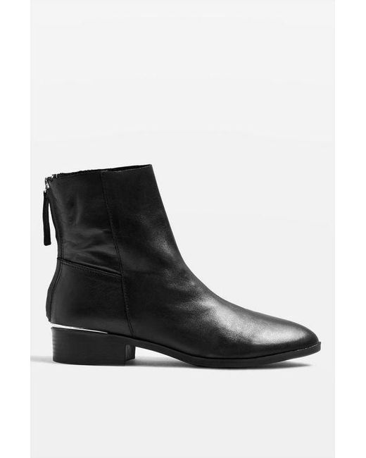 f979b1a810b TOPSHOP wide Fit Koko Unlined Flat Leather Boots in Black - Save 46 ...