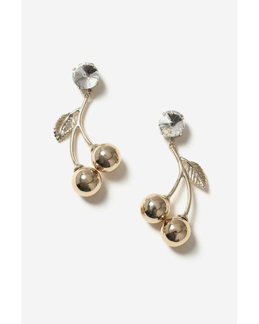 TOPSHOP   Metallic Crystal Cherry Rhinestone Drop Earrings   Lyst