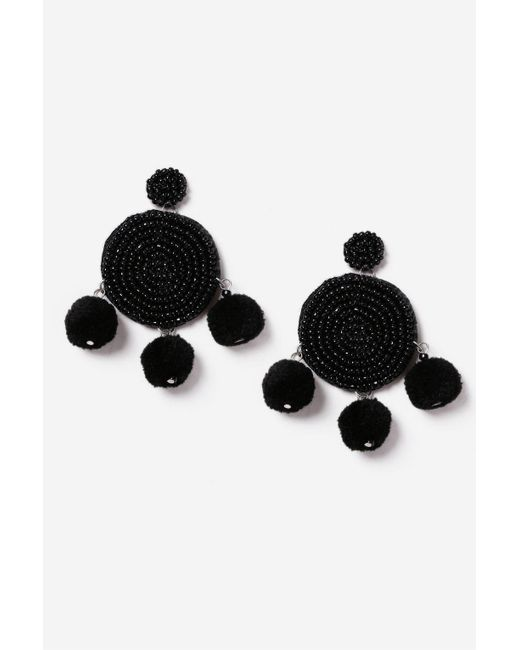 TOPSHOP | Black Beaded Circle Drop Earrings | Lyst