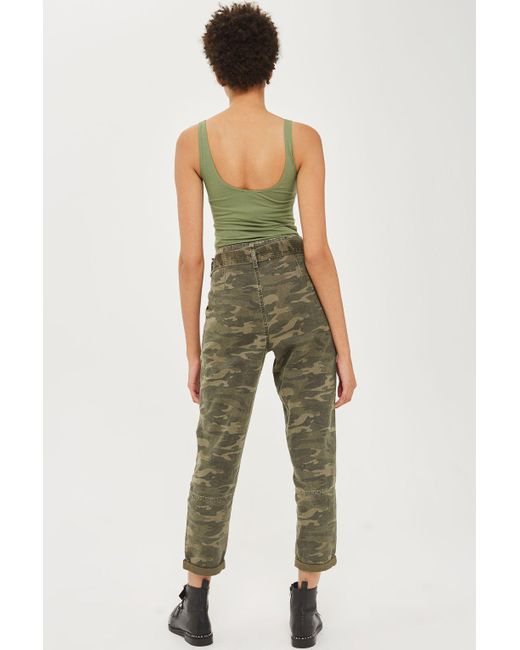 Top Green Camouflage Paper Bag Trousers Lyst