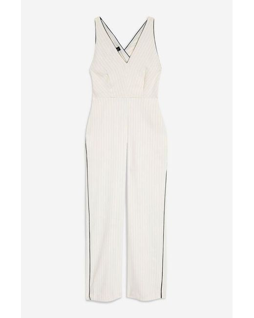 7eae9fc0748 ... TOPSHOP - White Tall Pinstripe Jumpsuit - Lyst
