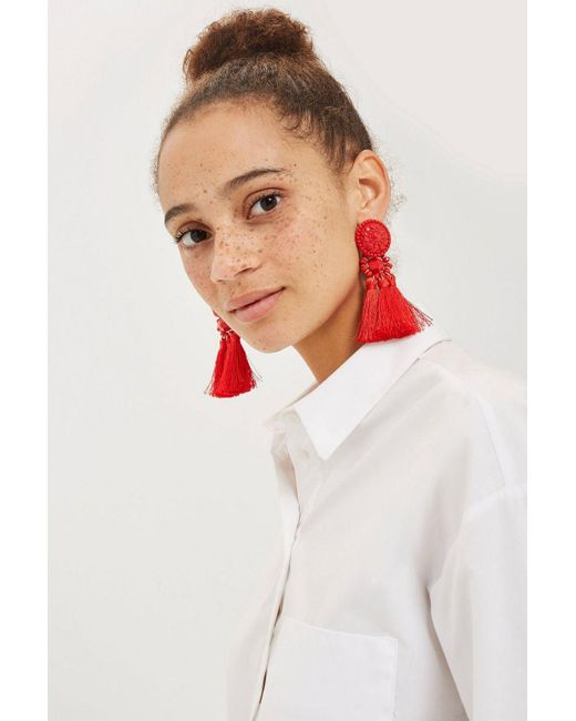 TOPSHOP - Red Tassel Drop Beaded Earrings - Lyst