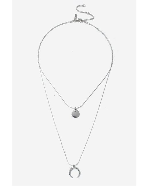 TOPSHOP   Metallic Silver Disc And Curve Necklace   Lyst