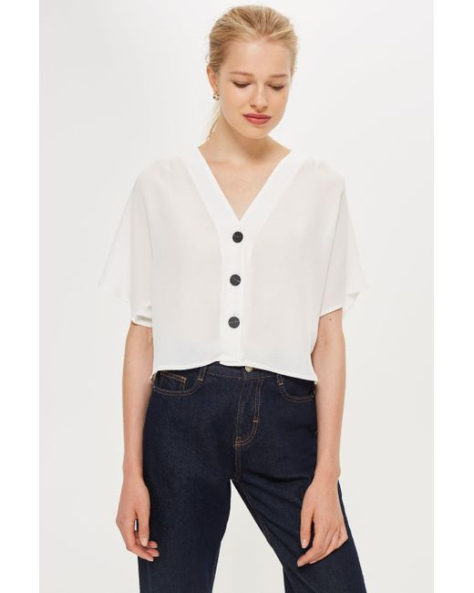 TOPSHOP - White Pleat Sleeve Top - Lyst