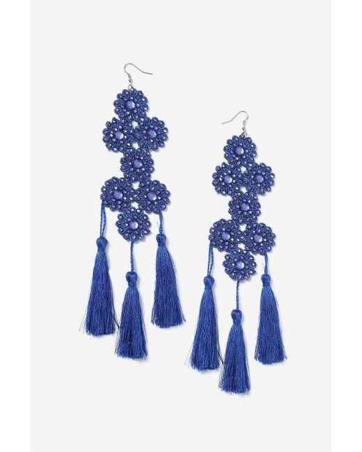 TOPSHOP | Blue Flower & Tassel Earrings | Lyst