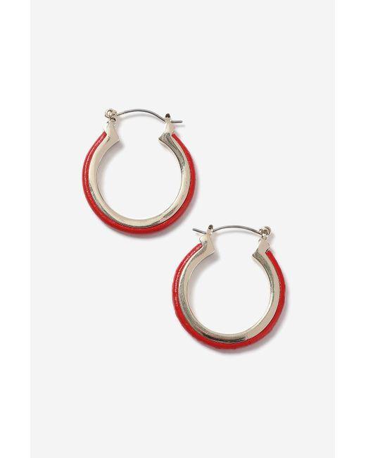 TOPSHOP | Red Inlay Hoop Earrings | Lyst