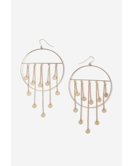 TOPSHOP | Metallic Drop Hoop Earrings | Lyst