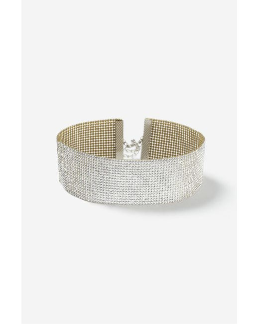 TOPSHOP | Metallic Wide Glam Rhinestone Choker Necklace | Lyst