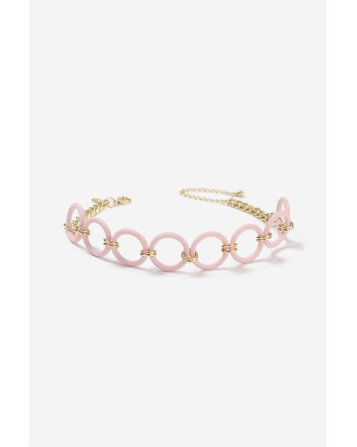 TOPSHOP | Pink Rubberised Hoop Choker Necklace | Lyst