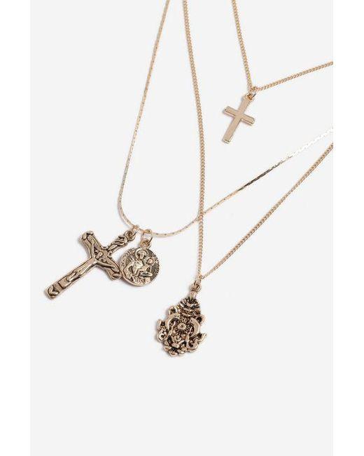 TOPSHOP - Metallic cross Charm Multi-row Necklace - Lyst