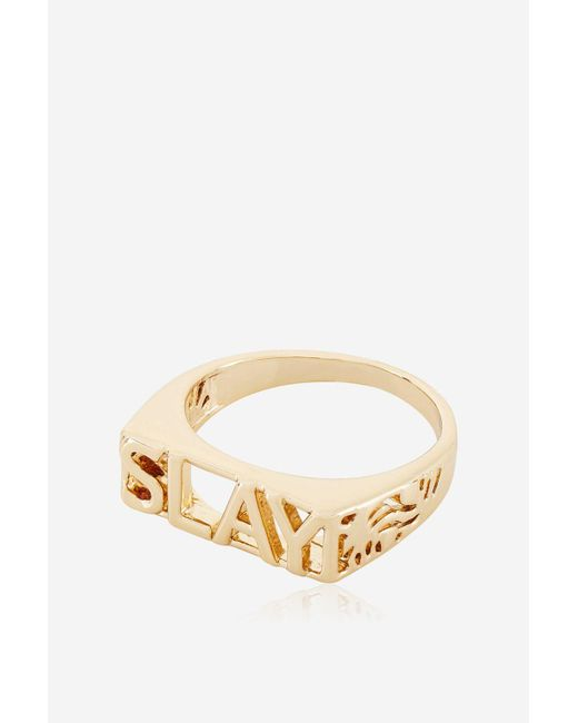Skinnydip London | Metallic Rose Gold Slay Ring By Skinnydip | Lyst
