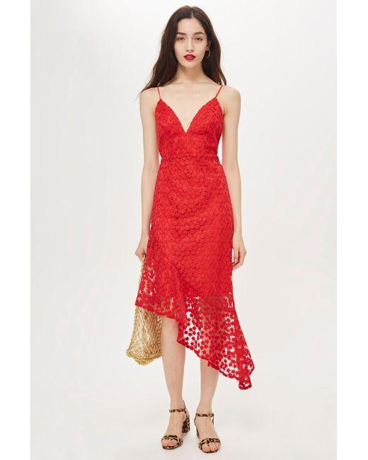 TOPSHOP - Red Lace Plunge Asymmetrical Hem Dress - Lyst