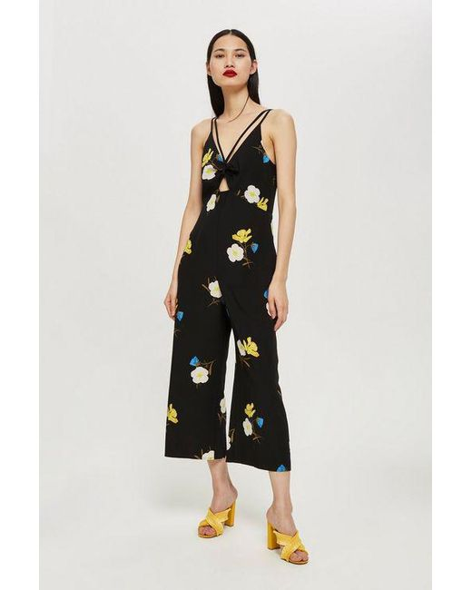 05ee3d3572 TOPSHOP - Black Tall Yellow Floral Jumpsuit - Lyst ...