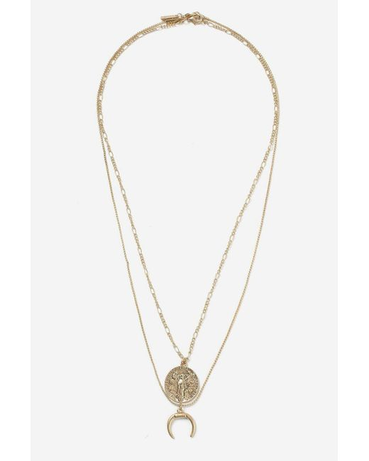 TOPSHOP - Metallic Coin And Horn Two Row Necklace - Lyst