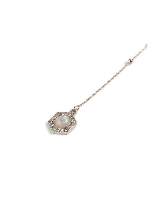 TOPSHOP - Metallic Drop Opal Stone Choker Necklace - Lyst