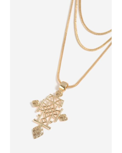 TOPSHOP - Metallic heavy Celtic Cross And Multi-row Necklace - Lyst
