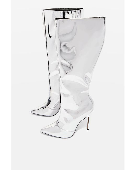 TOPSHOP | Metallic Blade Knee High Boots | Lyst