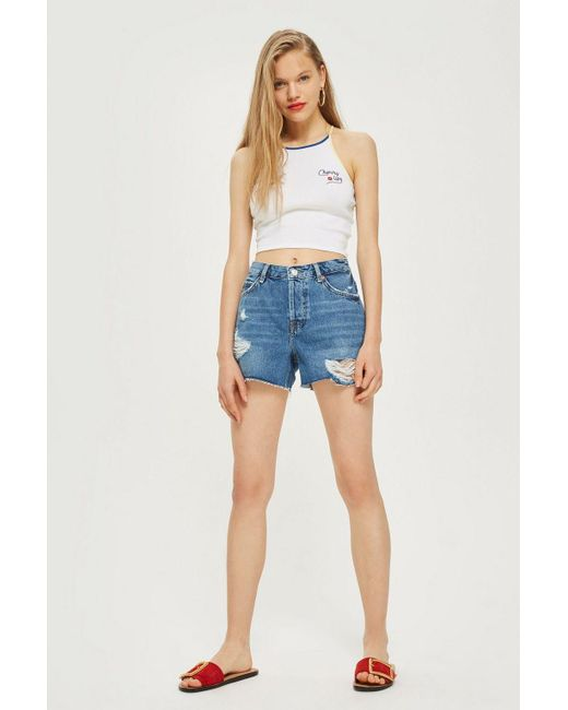 TOPSHOP - Red Petite Mid Blue Ashley Shorts - Lyst
