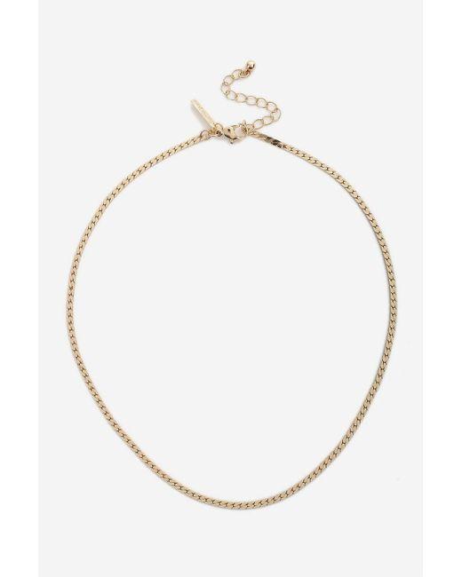 TOPSHOP - Metallic Flat Chain Necklace - Lyst