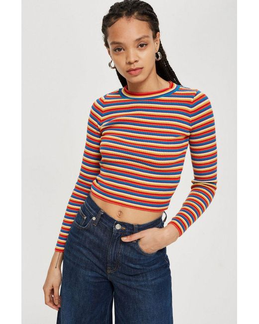 TOPSHOP - Multicolor Rainbow Striped Knitted Top - Lyst