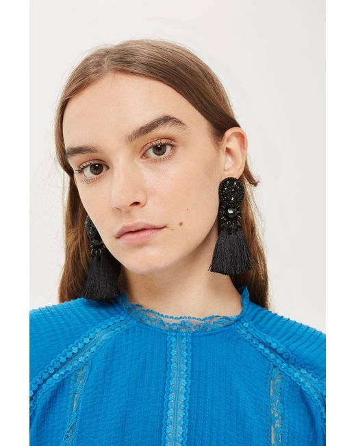 TOPSHOP | Black Tassel Drop Earrings | Lyst