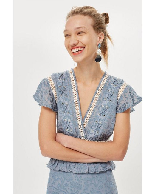 TOPSHOP - Blue Lace Up Mini Dress - Lyst