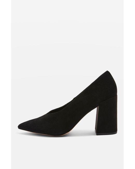 TOPSHOP | Black Greatal V-cut Block Heels | Lyst