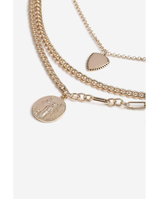 TOPSHOP - Metallic Chain Multirow Necklace - Lyst