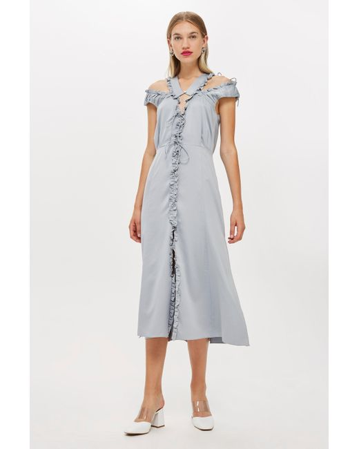 TOPSHOP - Gray Seersucker Dress By Boutique - Lyst