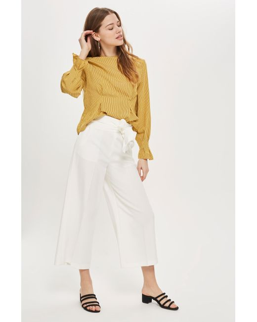 TOPSHOP - White High Waist Bonded Culottes - Lyst