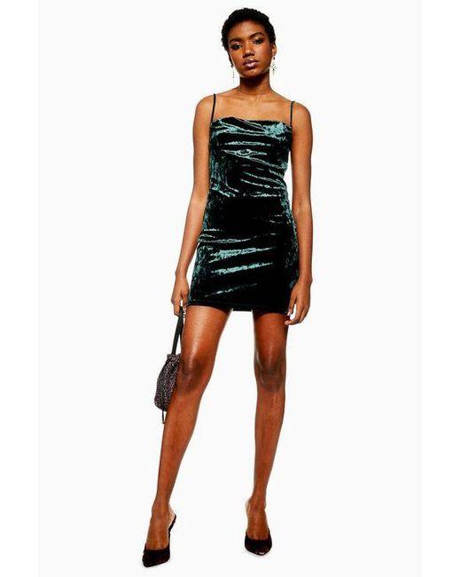 d27a2efeb1d TOPSHOP - Black Cowl Velvet Slip Dress - Lyst ...
