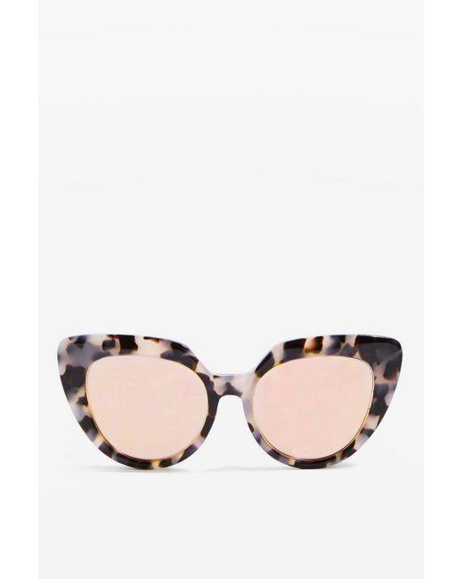 TOPSHOP - Pink Handmade Premium Acetate Kitten Frame Sunglasses - Lyst