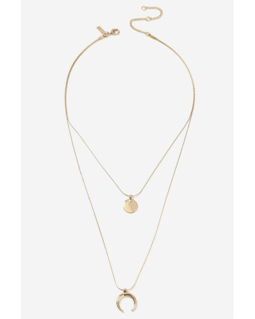 TOPSHOP - Metallic Disc And Curve Charm Multirow Necklace - Lyst