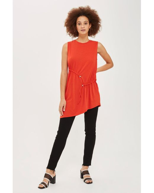 TOPSHOP | Red Sleeveless Ruched Tunic | Lyst