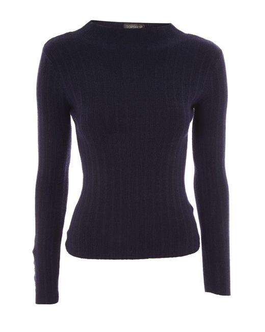 TOPSHOP | Blue Knitted Funnel Neck Jumper | Lyst