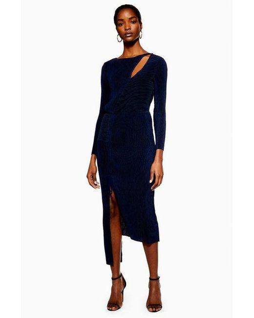 773c47b1302 TOPSHOP - Blue plisse Panelled Dress By Boutique - Lyst ...