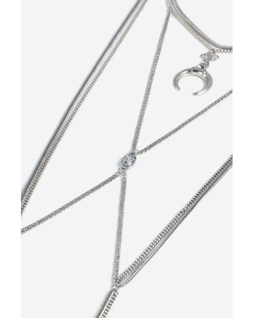 TOPSHOP - Metallic Horn Cross Drop Necklace - Lyst