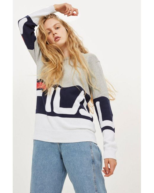 TOPSHOP - Gray Crew Neck Sweater By Fila - Lyst